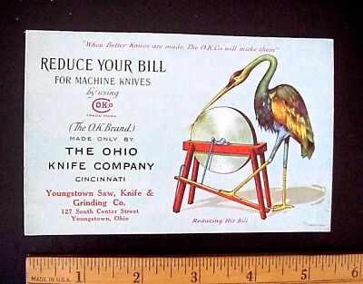 Old Ohio Knife Company Cincinnati Youngstown Ohio Crane Egret Bird Ink Blotter