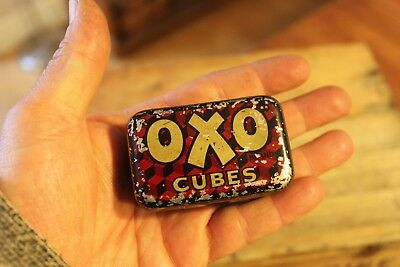 Vintage Ex.Small Traditional Oxo Cubes Tin – Well Worn – Great! –
