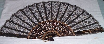Vintage or Antique Intricate Faux Tortoise Shell BLACK LACE Hand fan - large