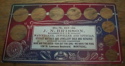 c1910 ANTIQUE JH BRISSON MONTREAL JEWELER ADVERTISING RING SIZE CARD WATCHMAKER