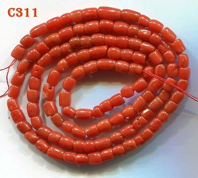 **Coral Beads, Natural Mediterranean Undyed Vintage Strand Tomato Red Beads C311