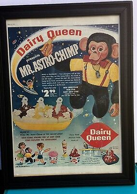 1961 Dairy Queen DQ Authentic Framed  Astro Chimp toy vintage print ad