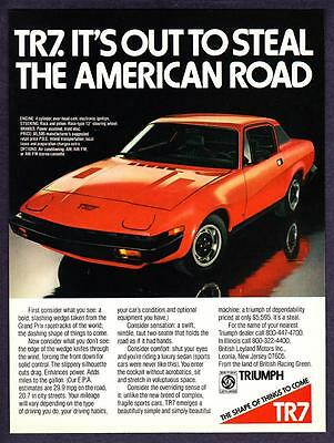 """1976 Triumph TR7 Coupe photo """"Out to Steal The American Road"""" vintage print ad"""
