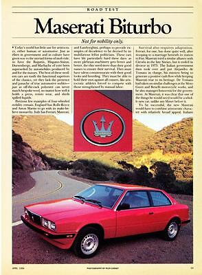 1984 Maserati Biturbo Coupe Road Test & Technical Data Article