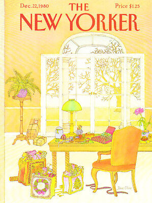 1980 Wrapping Xmas Gifts at Desk art by Jenni Oliver The New Yorker COVER ONLY