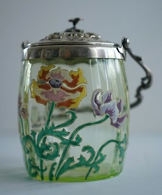 Antique Victorian Enameled Vaseline Art art Glass Biscuit Jar Hand Painted Rare!