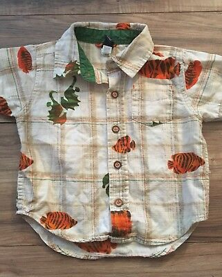 Baby Gap Boys Short Sleeve Button Up Shirt Size 12-18 Months Fish Seahorses