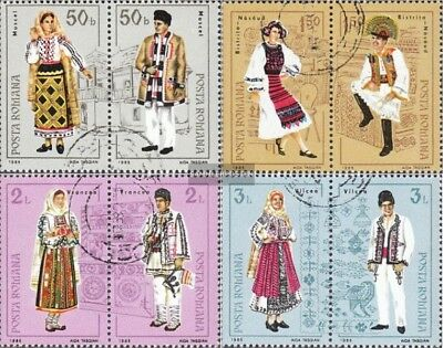 Romania 4185-4192 Couples (complete issue) used 1985 Costumes