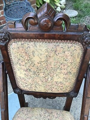 Antique Floral Tapestry Folding Wooden Parlor Chair