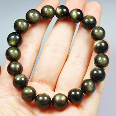 114.6CT 100% Natural Mexican Golden Obsidian Round Beads Bracelet Chain BGO248