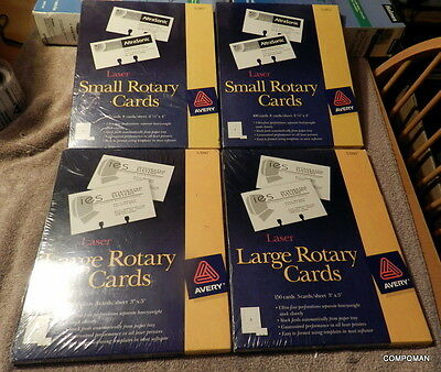"""Avery Laser Ink Jet #5386 Large Rotary 3"""" x 5"""" White Cards Avery #5385 2 1/6x 4"""""""