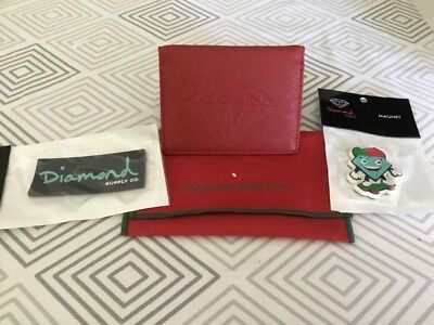Diamond Supply Co Bi-Fold Wallet (red) With Magnets New