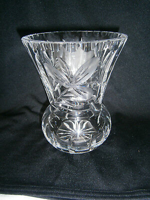 Large 15.5 Cm Tall Crystal Leaded  Glass Vase With Cut Floral Design Very Heavy