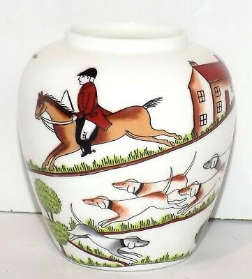 RARE Small CROWN STAFFORDSHIRE FINE BONE CHINA ENGLAND R HUNTING SCENE POT/VASE
