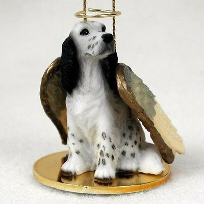 ENGLISH SETTER dog ANGEL Ornament resin Figurine Christmas Blue Belton Eng puppy