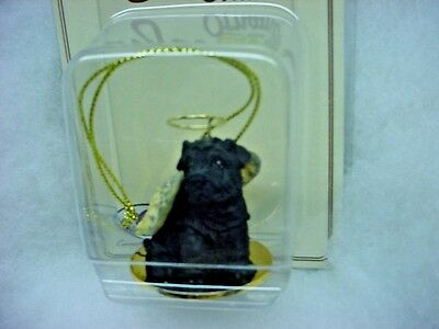 SHAR PEI dog ANGEL Ornament HAND PAINTED Figurine resin Christmas BLACK puppy