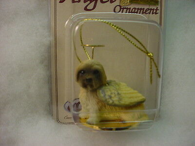LHASA APSO brown dog ANGEL Ornament HAND PAINTED Resin FIGURINE Christmas puppy