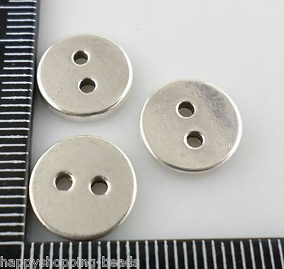 16/120pcs Tibetan silver Round 2 hole Button Spacer Beads Connectors 12mm