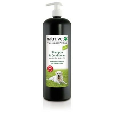 Natruvet Hundeshampoo & Conditioner speziell für helles - Fell 1000ml