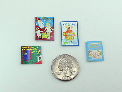 Adorable Set of 4 Dollhouse Miniature 1:12 Scale Childrens Faux Books #HBS8
