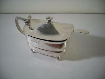 An Antique George III Silver Mustard Pot & Blue Glass Liner : London 1807