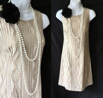 NEXT Cream Sequin Open Back 1920's Gatsby Flapper Cocktail Shift Dress 10 38