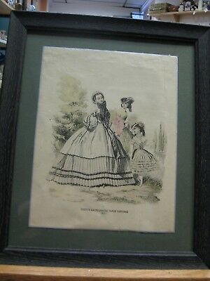 """Americanized Paris Fashions GODEY'S PRINT in Antique Frame """"1865"""" Hand Colored"""
