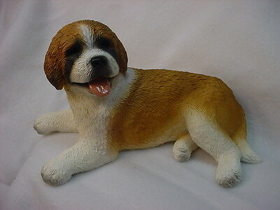 CUTE PUPPY Love SAINT BERNARD FIGURINE dog HAND PAINTED Resin COLLECTIBLE STATUE