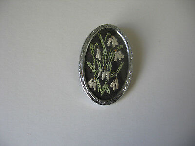 Vintage Brooch/pin Hand Embroidered Snowdrop Flowers