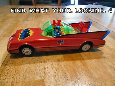 Vintage 1970's Batman Batmobile Tin Battery Operated 12 Inch  Working See Video