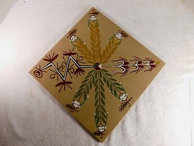 Native American Navajo Sand Painting, Unsigned, Measures 12 by 12 Inches