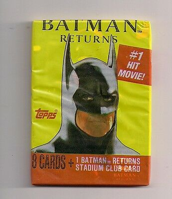 Batman Returns Movie Photo Trading Cards Unopened Pack 9 Cards 1991 Topps Estate