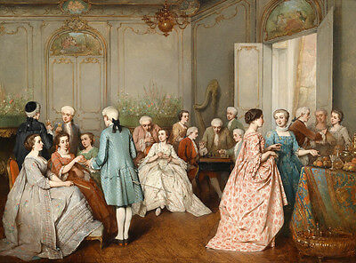 Canvas Print Oil painting European Court Meeting Party printed on canvas L1116