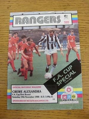 19/11/1988 Stafford Rangers v Crewe Alexandra [FA Cup] . Item in very good condi
