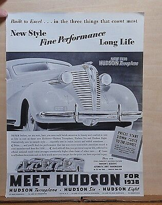 1938 magazine ad for Hudson - Photo of front grille of Hudson Terraplane
