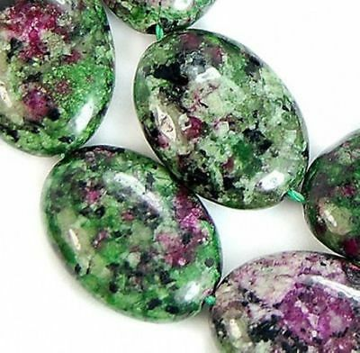 13x18mm Natural Ruby Zoisite Jade Gemstone Flat Oval Spacer Loose Beads 15#AY339