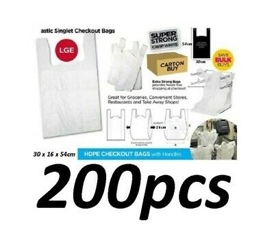 200pcs Plastic Singlet Shopping Carry Checkout Bag Large 30x16x54cm White NEW