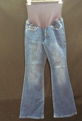 Old Navy Maternity Jeans Denim Full Panel Size 12 Hello Pretty Mama Flared Leg
