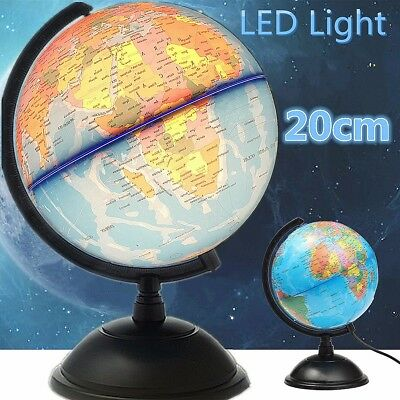 20cm LED World Desktop Globe Earth Rotating Night Light Blue Ocean Educational