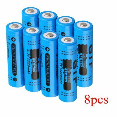 8X 18650 3.7V 12000mAh Akku Micro Varta Accu Li-ion Battery for LED Torch o~