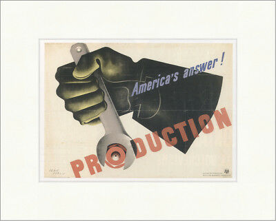 Americas answer. Production. Jean Carlu 1942 Poster Kunstdruck Plakatwelt 749