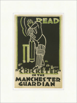 Read Cricketer in the Manchester Guardian 1923 Kauffer Kunstdruck Plakatwelt 896