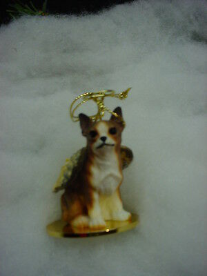 CHIHUAHUA Brindle DOG ANGEL Ornament resin Figurine COLLECTIBLE Christmas puppy
