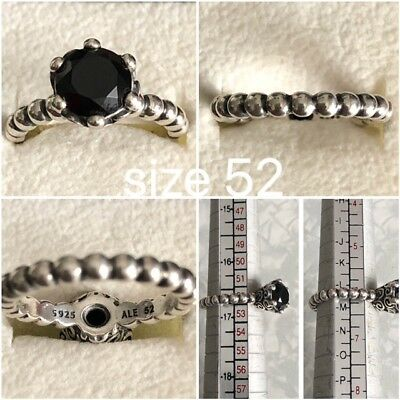 Pandora Black Spinel Ring Size 52 Ref 190851Me Discontinued