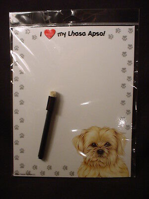 I LOVE heart MY LHASA APSO Magnet Note LIST Message Board MEMO DRY ERASE dog