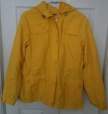 Lands  End Women s Yellow Removable Hood Spring Jacket Size M 10-12 NWOT 💟 dcb32d222