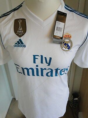Real Madrid** Champions League ** Home Shirt ** 2017-18 Size Small Bnwt Badges