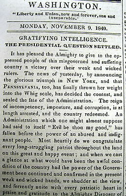 1840 Washington DC newspaper WILLIAM HENRY HARRISON ELECTED PRESIDENT Whig Party