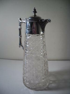 An Antique Silver & Cut Glass Claret Jug With 'Twig'  Handle : London 1900