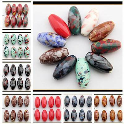 5pcs 29x14mm 10 Color Olive Ceramic Loose Spacer Beads DIY Jewelry Findings